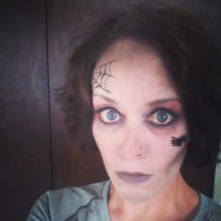 Ready to scare...er... cheer for my XC runners.